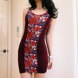 Free People Red Floral Bodycon Dress